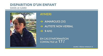 Disparition d'un enfant autiste à Aimargues